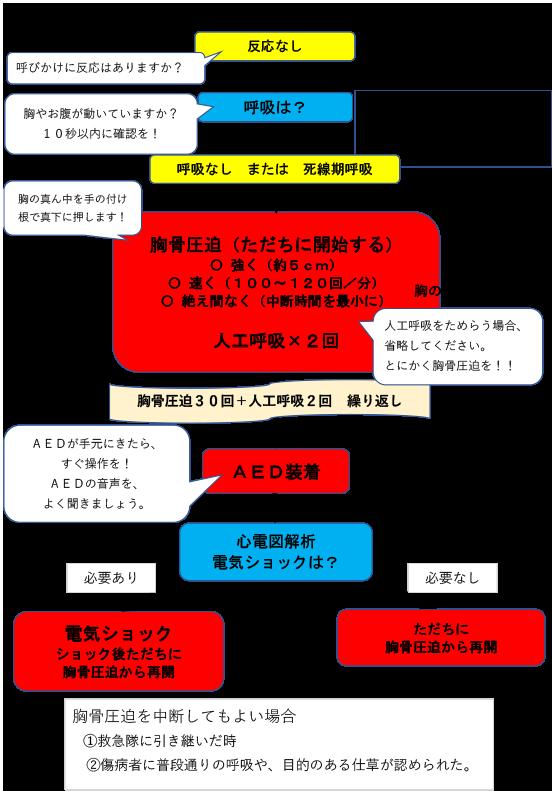 心肺蘇生法フロー図